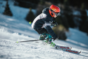 Person skiing down a slope